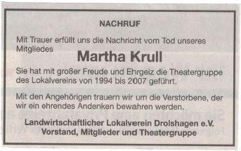 Nachruf Martha Krull